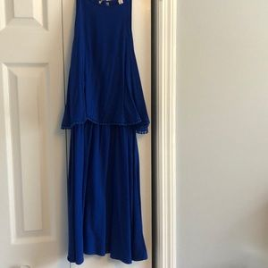 Blue split dress